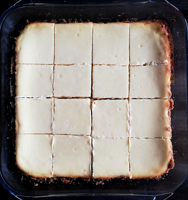 cheesecake bars sliced