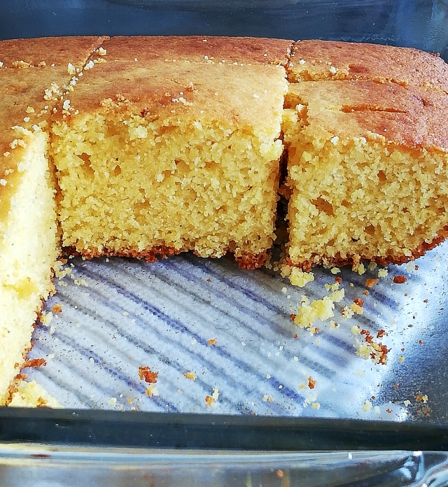 cornbread in baking dish